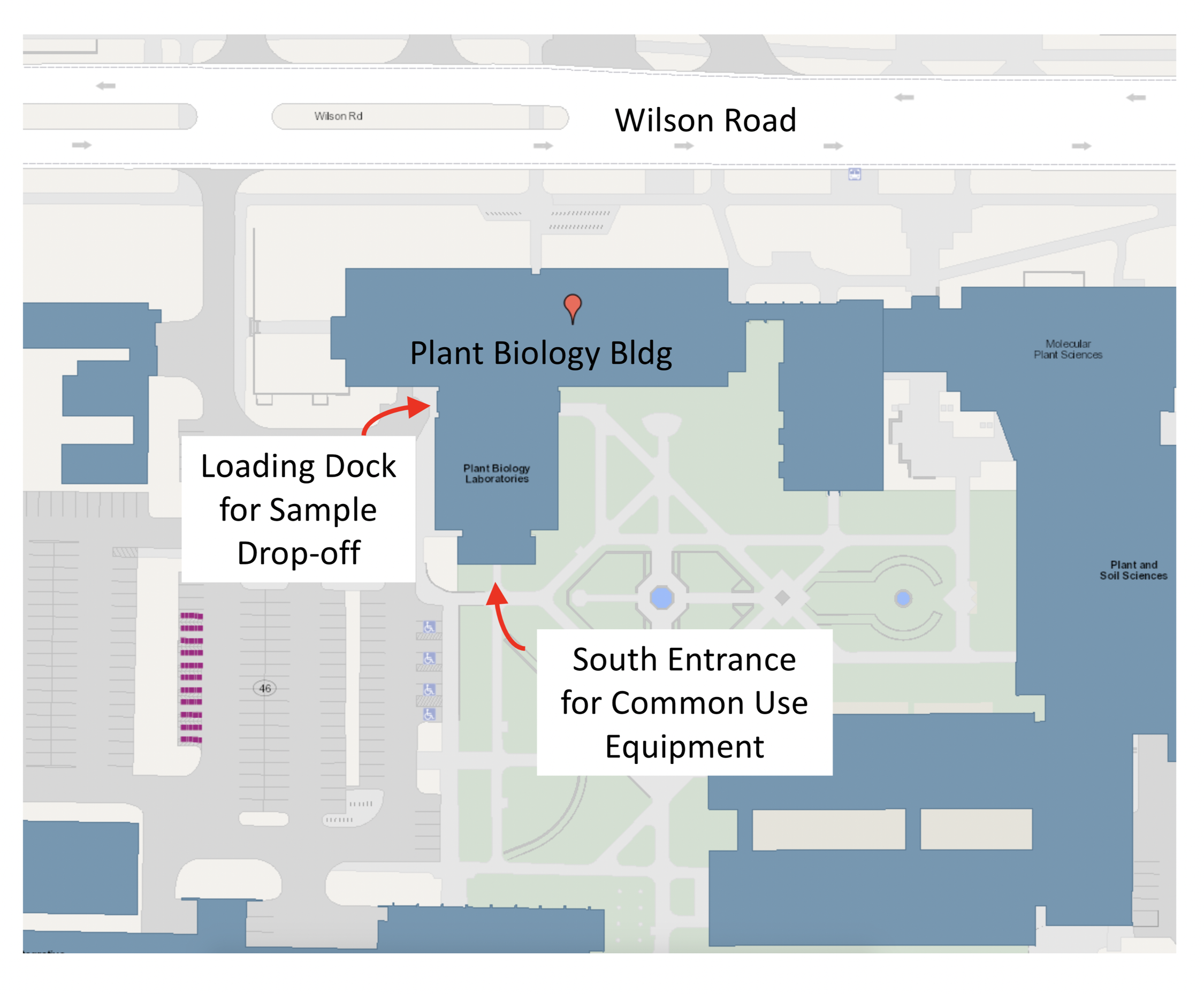 Map of the plant biology building showing the south entrance for the common use equipment room.
