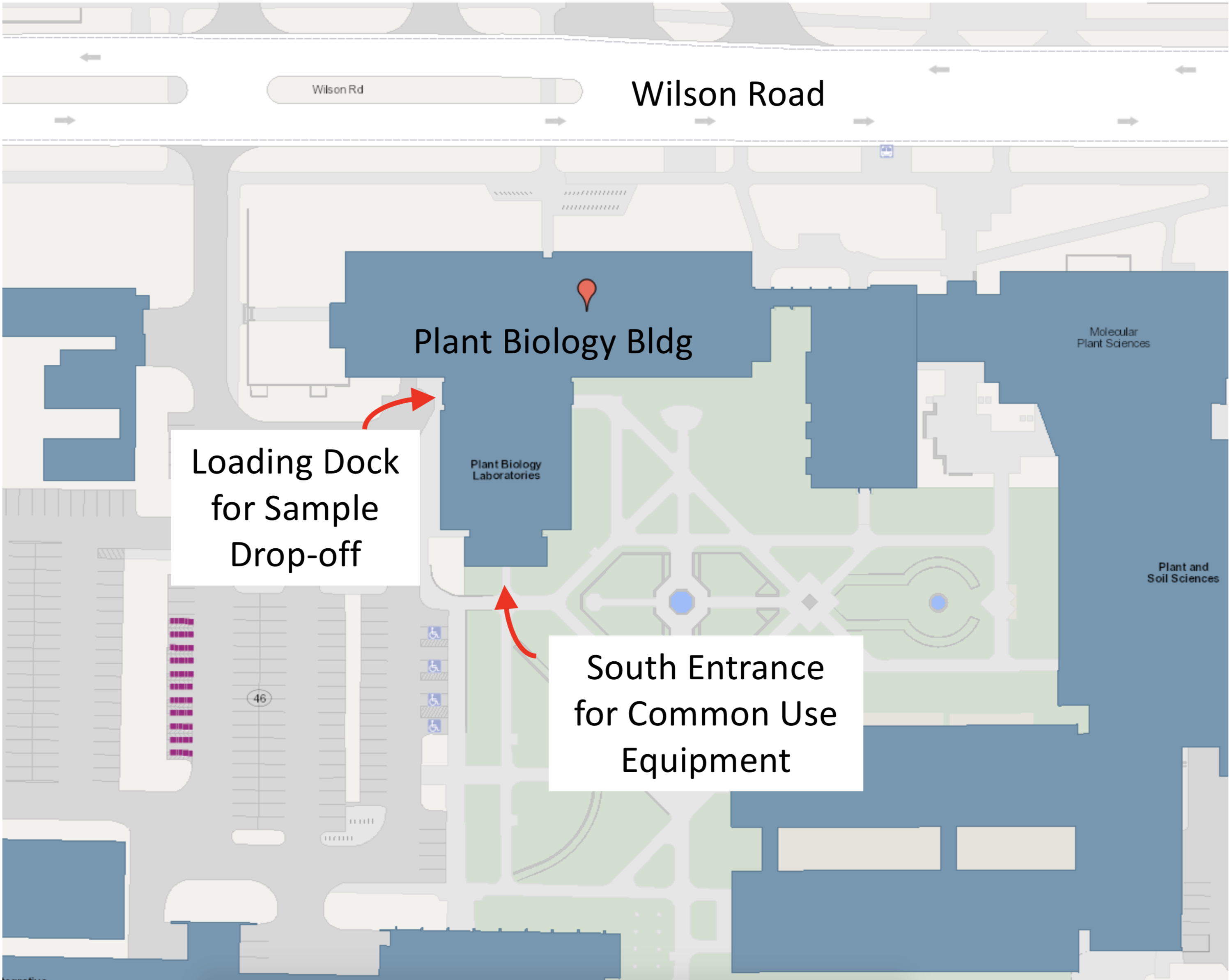 Plant biology building map showing the loading dock and south entrance